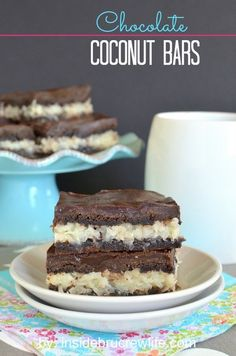 Chocolate Coconut Bars - chocolate cake mix bars filled with a coconut filling and topped with chocolate ganache