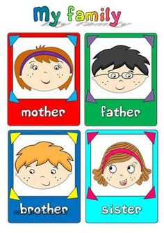 A set of eight flashcards to teach family members (mother, father, brother, sister, grandmother, grandfather, cousin-girl, cousin-boy). Hope you find them useful. Have a nice weekend, mada :) - ESL worksheets
