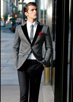 I'd do a black tie... maybe nice for a wedding. Love the contrasting lapels.