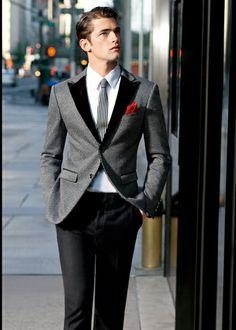 Blazer, Stripped Tie, And Red Pocket Square