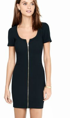 Black Ribbed Zip Sheath Dress | Express