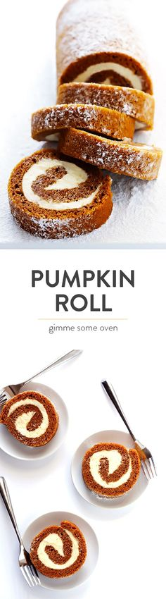 Learn how to make a classic pumpkin roll with this easy recipe and step-by-step tutorial (including a video!).  It\'s surprisingly easy to make, and ALWAYS a crowd favorite, especially around the holidays.   gimmesomeoven.com #fall #dessert #pumpkin #thanksgiving #laborday #winter