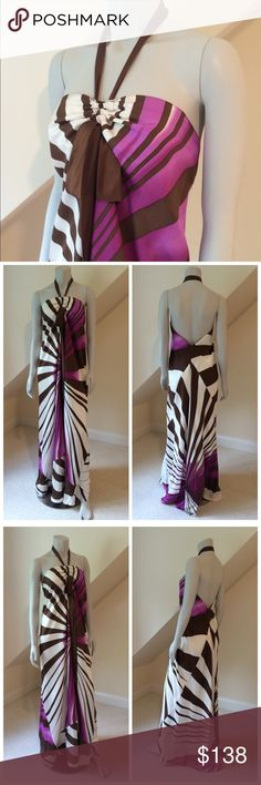 Nicole Miller Silk Maxi Dress Nicole Miller Silk Maxi Dress...gorgeous 100% silk maxi dress...halter style...mermaid hem...adjustable halter creates folds across the bust area tying in a bow with long sash...very dramatic...fully lined...excellent pre-loved condition. Retail $498 Nicole Miller Dresses Maxi