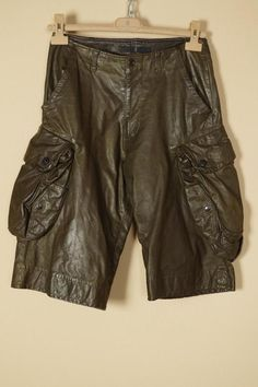 Julius Leather Gas Mask Cargo Shorts sz 1 Small Brown _7 MA Gothic Grundge Punk #Julius #Cargo