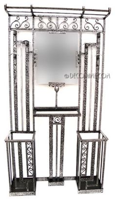 French Art Deco Large Iron Hall Tree  In the manner of Edgar Brandt  Circa 1920's, France