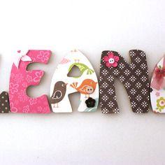 Plaque De Porte Prénom Personnalisé Lettres Bois Thème Girly - Plaque de porte prénom