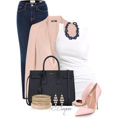 Navy & Pink by ccroquer on Polyvore featuring polyvore fashion style Soaked in Luxury DKNY Kurt Geiger Yves Saint Laurent Kate Spade Accessorize