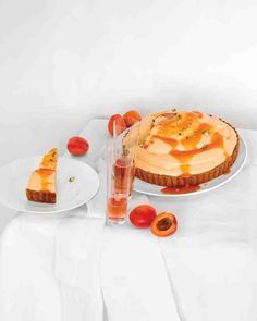 Apricot Chiffon Pie - Fluffy, mousselike filling, which tastes of sweet apricots, fills a nutty, press-in cookie crust. Drizzle the pie with fruit puree, and sprinkle with pistachios just before serving.