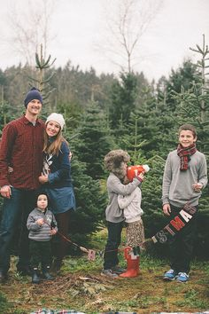 family pics at a Christmas Tree farm