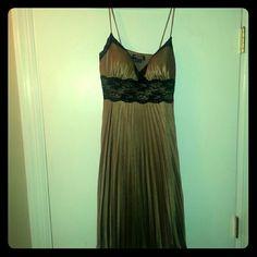 Bronze w/ Black Lace Dress Never worn/ Bronze dress/ Spaghetti Strap / Black lace trim around bust / Flowing Pleated Bottom XOXO Dresses