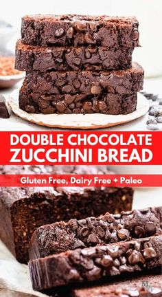 This incredibly easy to make and moist double chocolate zucchini bread is gluten free, dairy free, and paleo. It is perfect as a snack, for breakfast or as dessert. It's healthy and one of the easiest recipes you can make that's topped off with dark chocolate chips. #paleo #glutenfree #chocolate #zucchinibread #breakfast Paleo Dessert, Healthy Dessert Recipes, Gluten Free Desserts, Brunch Recipes, Healthy Snacks, Breakfast Recipes, Best Paleo Recipes, Loaf Recipes, Muffin Recipes