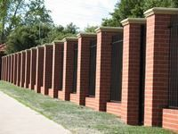images about fence ideas on Pinterest Brick fence