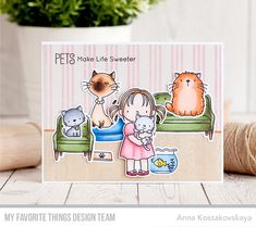 Stamps: New Best Friends, Cool Cat, Make Yourself at Home, Wood Plank Background, Triple Stripe Background Die-namics: New Best Friend, Cool Cat, Make Yourself at Home  Anna Kossakovskaya  #mftstamps Die-namics: