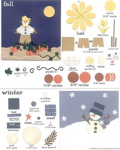 laura's frayed knot: Paper-Punch Fall and Winter Paper Punch Art, Punch Art Cards, Paper Piecing Patterns, Art Patterns, Craft Punches, Owl Punch, Scrapbook Embellishments, Paper Cards, Homemade Cards