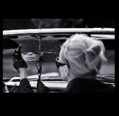 Mirror in the car, blond, woman, sunglasses, gloves, cabrio, vintage, retro
