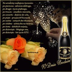 W Dniu Urodzin Emoticon, Birthday Quotes, Beautiful Roses, Special Day, Diy And Crafts, Happy Birthday, Cards, Aga, Motto
