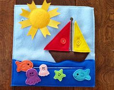 Sailboat Quiet Book Page Buttons Fish - Build a Personalized Busy Book Quiet Book Activity Book Busy Bag for Toddler Preschooler Gift