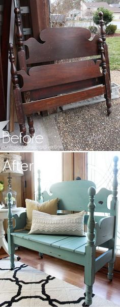 Headboard Repurposed Into A Bench.