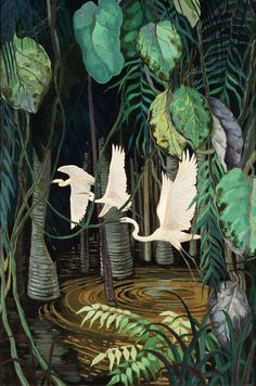Egrets in a Swamp    Jessie Arms Botke (1883-1971)prints by this artist