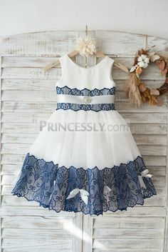 Ivory Satin Tulle Wedding Flower Girl Dress with Navy Blue Lace Bow Belt