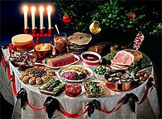 Swedish Christmas Buffet. The tablecloth looks like a nice crafty project!