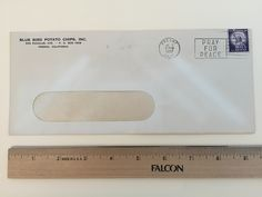 """Item: fc_19570702_1 business cover approx. 4"""" x 9 ½"""" (window envelope) Condition: very good – yellowing due to age and very slight creases  Blue Bird Potato Chips, Inc. 956 Parallel Ave. P.O. Box 1508 Fresno, California  Postmark: FRESNO JUL 2 8:30 PM 1957 CALIF. Stamp: 3c Liberty First Class Slogan Cancel: PRAY FOR PEACE"""