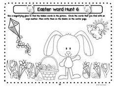 Easter Sight Word Hunt - The words are typed in a small font and hidden in a picture. The students use magnifying glasses to hunt for the words and record what they find. (Kindergarten and First Grade Word Work) $