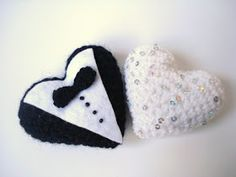 Bride and Groom Crocheted Hearts, Wedding gifts,  I have embroidered amigurumi style crocheted hearts. It is also perfect for decorating or...