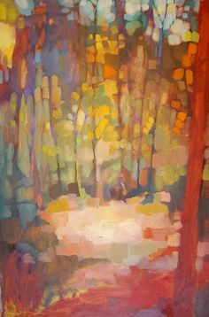 abstract trees painting, Olivia Pendergast (born in Florida; based in Seattle, WA) aka Holly Mae (Holly is her initial name). Abstract Landscape, Landscape Paintings, Landscapes, Abstract Trees, Fall Landscape, Forest Landscape, Gravure Photo, Art And Illustration, Tree Art