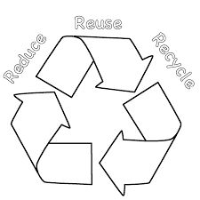 this reduce reuse recycle coloring page features a picture of the recycling symbol and the words reduce reuse recycle to color for earth day