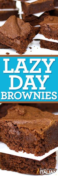 Lazy Day Brownies are a perfectly chocolaty, moist and delicious recipe. 1 bowl and 25 minutes until you can dive into this fabulous treat! Fudgy Brownie Recipe, Fudgy Brownies, Brownie Recipes, Brownie Desserts, Simple Chocolate Mousse Recipe, Chocolate Recipes, Decadent Chocolate, Easy Desserts, Delicious Desserts
