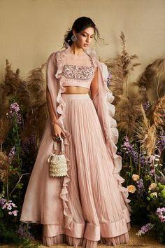 Pale Pink Cape Lehenga With Blouse Indian Fashion Dresses, Indian Gowns Dresses, Dress Indian Style, Indian Designer Outfits, Indian Designers, Indian Wedding Outfits, Bridal Outfits, Indian Outfits Modern, Lehenga Style