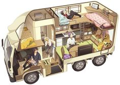 Bus Living, Van Home, Bus House, Isometric Art, Camper Van Conversion Diy, House On Wheels, Sims 4, Cute Art, House Ideas