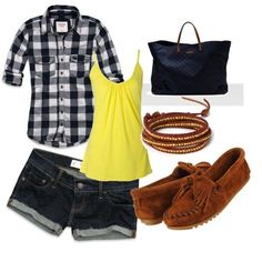 outfits for camping ideas (swap out jean shorts for running shorts and shoes for chacos to hike)