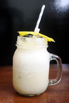 Perfect Pina Colada Party Punch:  vanilla ice cream; crushed pineapple;  coconut cream;  pineapple juice;  lemon-lime soda.