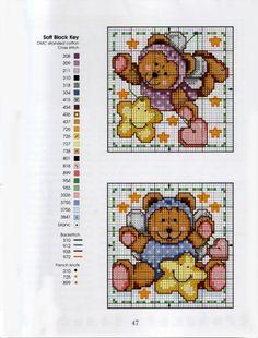 Cross Stitch Teddies - 3 Cross Stitch For Kids, Cross Stitch Boards, Cross Stitch Needles, Cross Stitch Baby, Counted Cross Stitch Patterns, Cross Stitch Designs, Baby Embroidery, Cross Stitch Embroidery, Cross Stitching