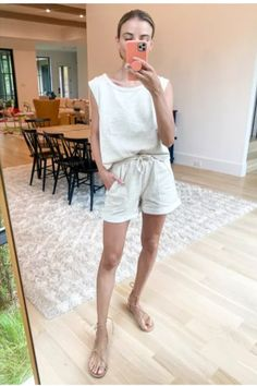This is a great for the beach. I love these linen looking pants and gladiator sandals.