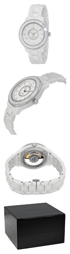 Christian Dior VIII Automatic White Ceramic and Stainless Steel Ladies Watch CD1245E3C002 #watch #christiandior #pocket_watches #watches #women #departments #shops