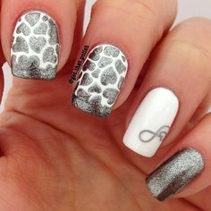 Silver Heart Nails