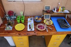 first party on the new diy outdoor kitchen by mylandscapecoach.com Diy Outdoor Kitchen, Chutney, Outdoor Spaces, Bbq, Table Settings, Lime, Community, Building, Party