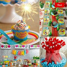 Yo gabba gabba When your little one is obsessed with a cartoon character, but you just can't bring yourself to populate your party with them, there are other options. Jesi Hack incorporated bright colors, modern decor like burlap table linens, pom-pom runners, succulent centerpieces, and clever sweets to fashion a party that almost has us wishing our child would ask for a Yo Gabba Gabba! bash. (Luckily, this one is supereasy to recreate!) Keep clicking for all of the details.