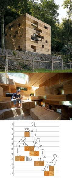 Final Wooden House by Sou Fujimoto, in Kumamoto, Japan Temporary Architecture, Wood Architecture, Fujimoto Sou, Wooden House, Interior And Exterior, Bungalow, Backyard, Empty Spaces, Street Furniture