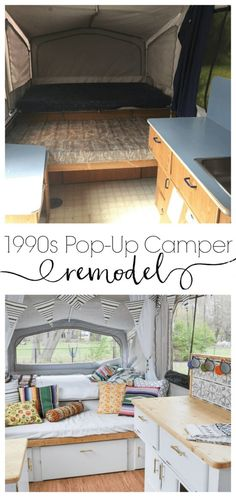 This pop-up camper remodel is incredible. To think it started with a leaky roof and now looks like this with white painted cabinets, new cushion covers, and boho bedding is unbelievable!