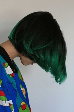 Reminds me of Edith from Ghost World. Luminous Dark Spring Green with Black Highlights