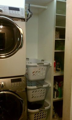 This is what we did with our really tiny laundry closet. Laundry sorter and storage. Stacked large high efficiency washer & dryer. Just what we needed.