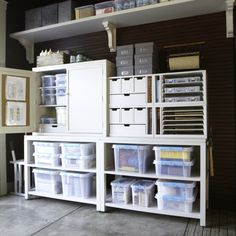 "An overall view of the hardware and repair stations. These stations are comprised of the 42"" wide storage consoles as bases and topped with a storage hutch and modular organizers from the Martha Stewart Living Crafts Space Collection."