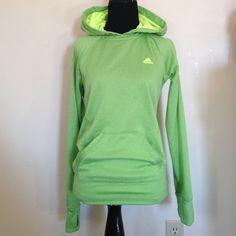 Adidas Ultimate Hoodie Lime green hoodie. Preloved. Missing hood string. Adidas Tops Sweatshirts & Hoodies