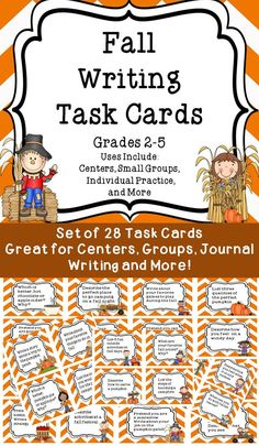 Fall Writing Task Cards Great for Centers, Groups, Journal Writing and More!