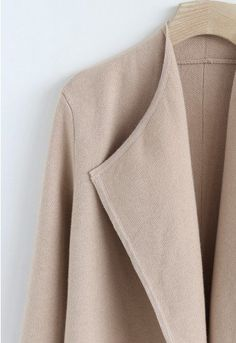 Classy Open Front Knit Coat in Light Tan - Retro, Indie and Unique Fashion Knitted Coat, Knitted Fabric, Unique Fashion, How To Wear Blazers, Indie, Thick Sweaters, Pullover, Knit Dress, Fall Outfits