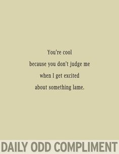 Daily Odd Compliment : Something lame. You're cool because you don't judge me when I get excited about something lame.